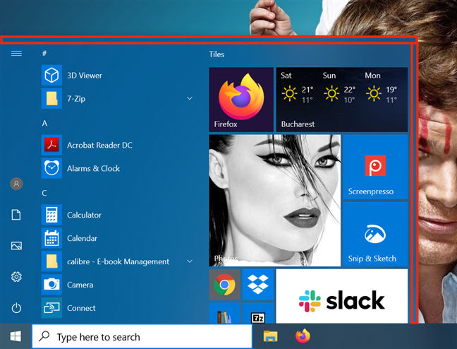 Grab the narrow area at the upper and right edges of the Start Menu