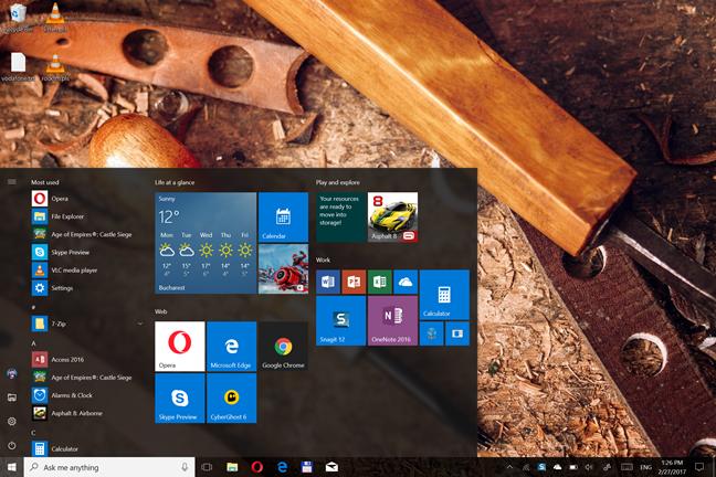 Windows 10, Start Menu, Tablet Mode, Full Screen