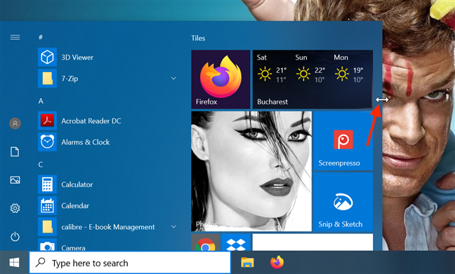 When adjusting the width, the Start Menu snaps into predetermined positions