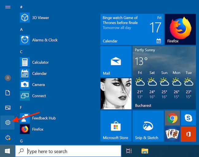 Access Settings from the Windows 10 Start Menu