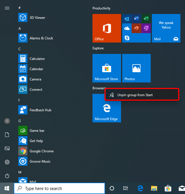 Unpin group from Start in Windows 10 May 2019 Update