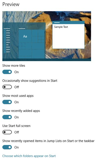 Windows 10, Start Menu, apps, items, shown, personalize