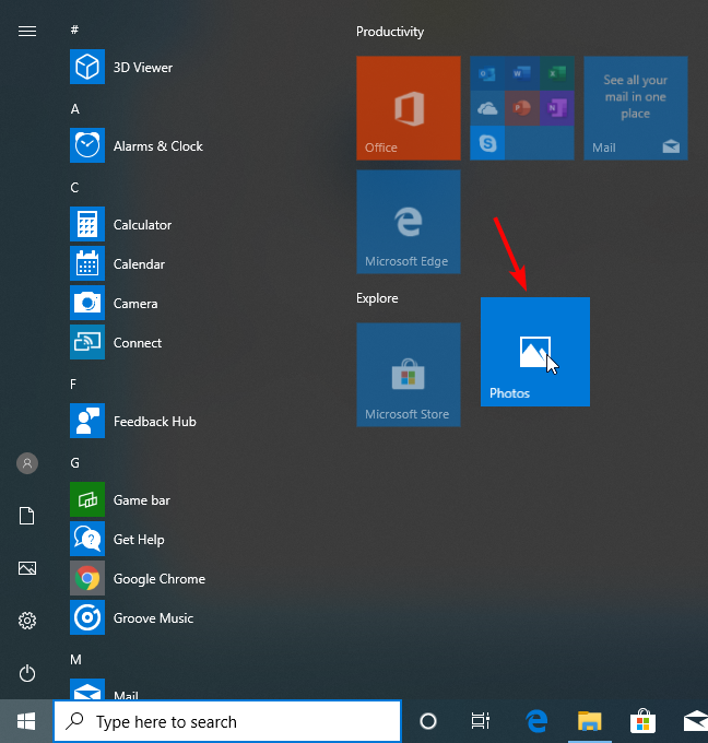Reposition a tile in the Start Menu in Windows 10