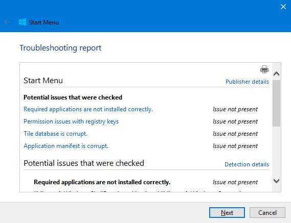 Windows 10, Start Menu, Troubleshooter