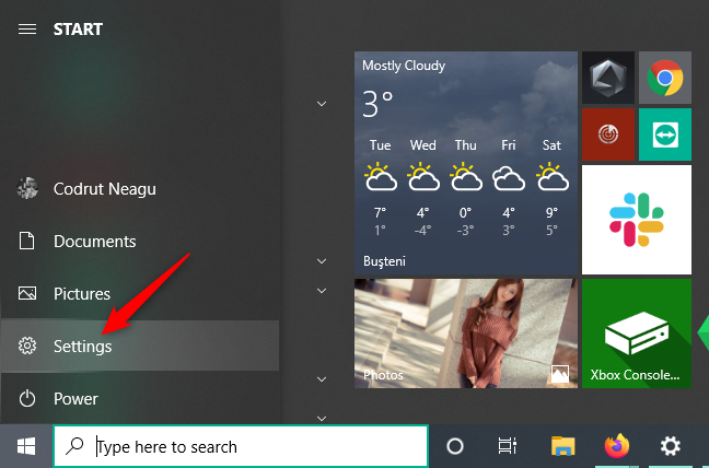 The Settings button from the Start Menu