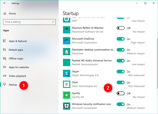 Enable or disable apps to launch at Windows 10 startup