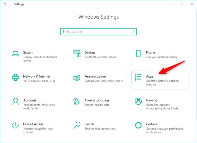 The Apps category from Windows 10 Settings