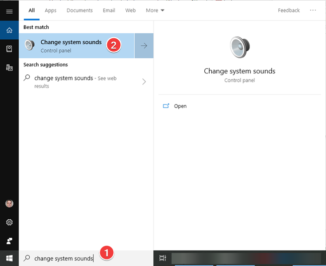 Search and open Change system sounds in Windows 10