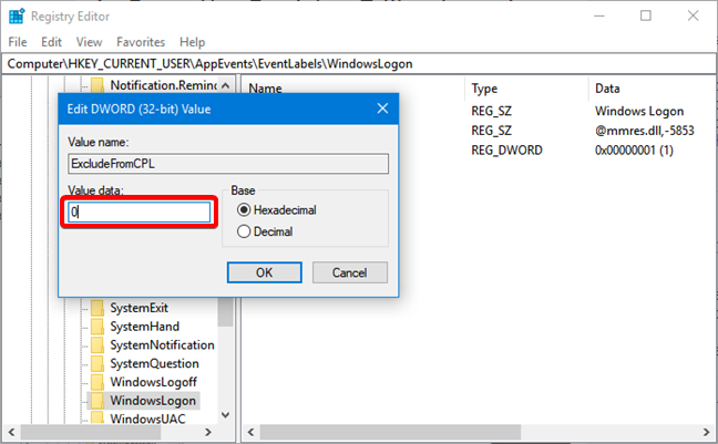 Enter zero for ExcludeFromCPL in the Registry Editor