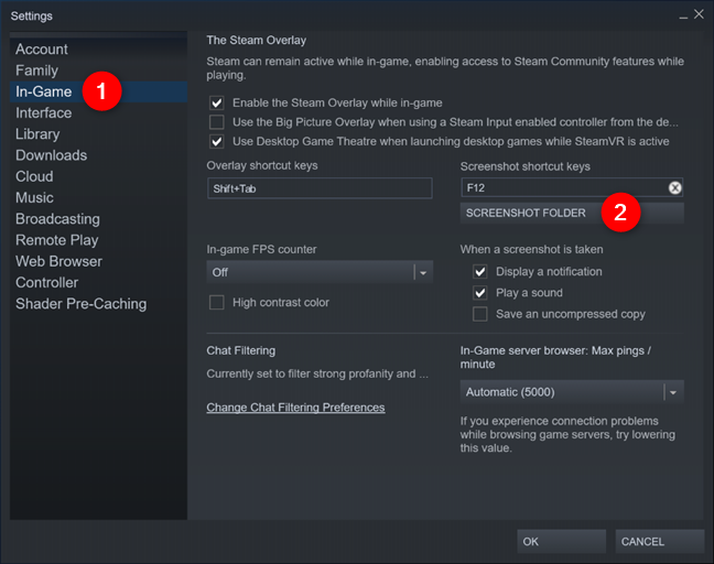 The Screenshot Folder button from Steam's In-Game Settings