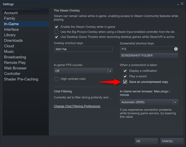Save an uncompressed copy for Steam screenshots