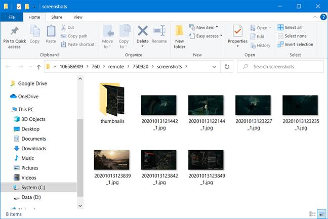 Steam's screenshots folder open in File Explorer