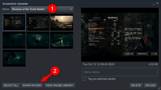 Show on Disk in the Steam Screenshot Uploader