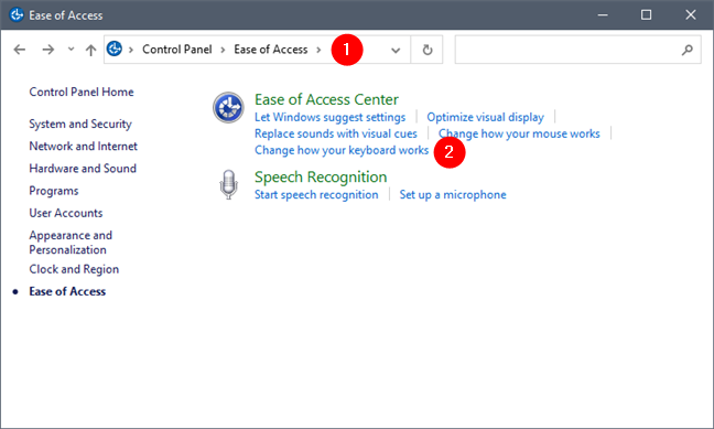 Change how your keyboard works in Control Panel's Ease of Access