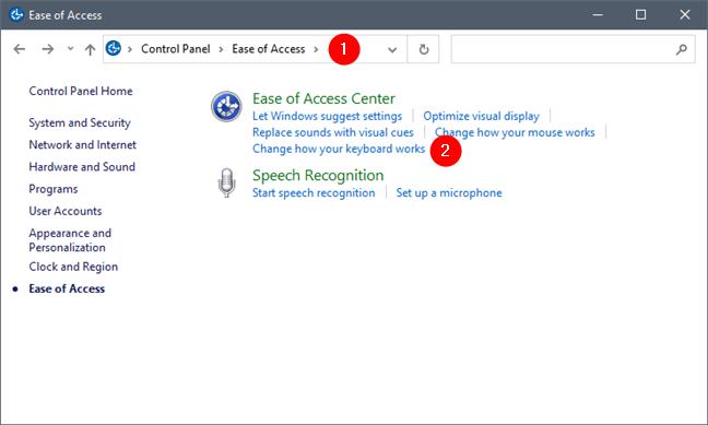 Cambie cómo funciona su teclado en la facilidad de acceso del Panel de control