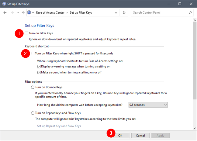 Control Panel: Turning off Filter Keys and the right SHIFT key shortcut