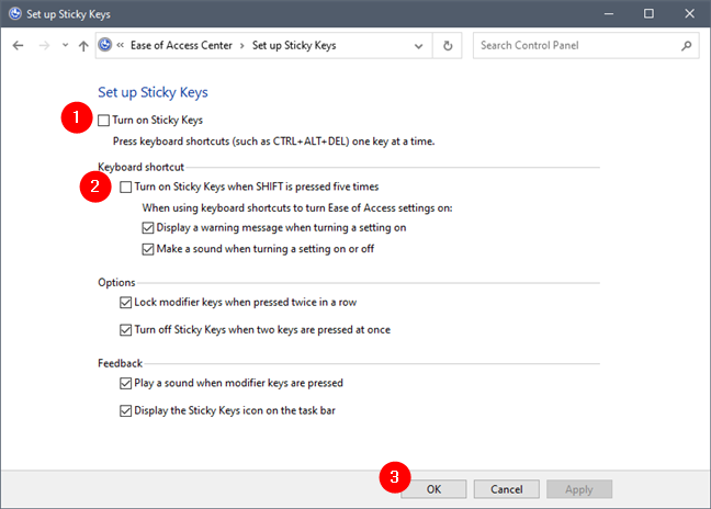 Control Panel: Turning off Sticky Keys and the SHIFT key shortcut
