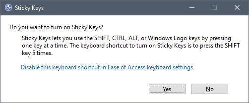 "The ""Do you want to turn on Sticky Keys?"" dialog window"