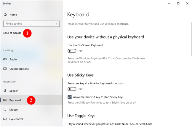 La configuración del teclado de la facilidad de acceso de Windows 10