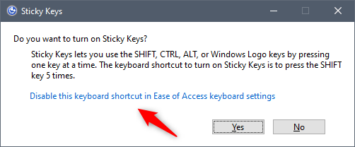 Disable this keyboard shortcut in Ease of Access keyboard settings