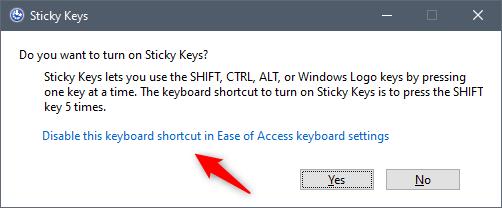 Desactive este método abreviado de teclado en la configuración del teclado de accesibilidad