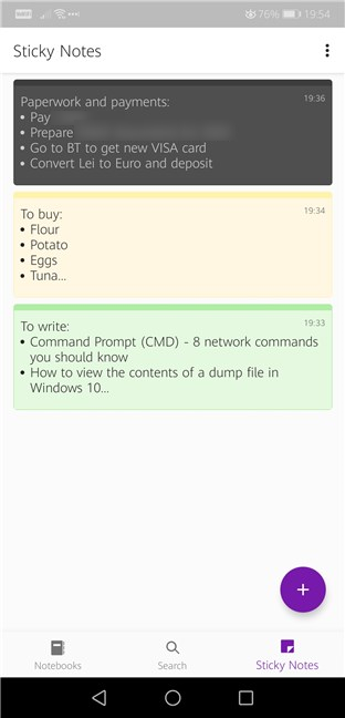 OneNote has a separate tab for Sticky Notes
