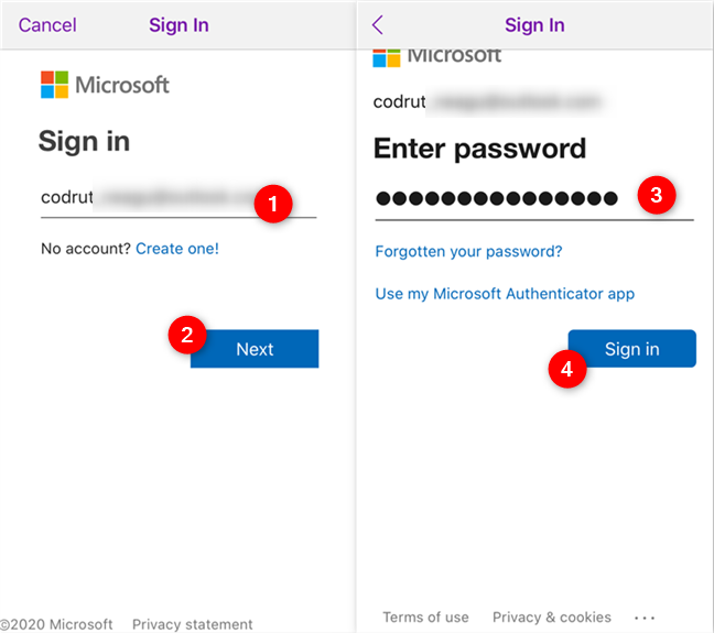 Signing into OneNote using your Microsoft account
