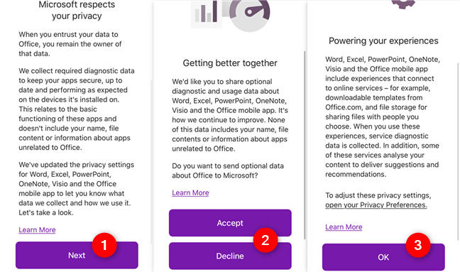 Information screens shown by OneNote before first use