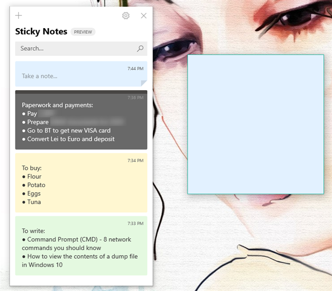 The Sticky Notes window shows all your synced notes
