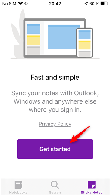Welcome message when you access your Sticky Notes for the first time in OneNote