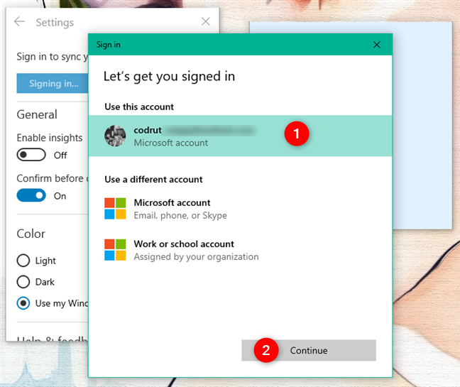 Choosing the Microsoft account used for signing in to Sticky Notes