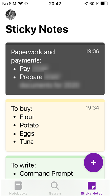 Your Sticky Notes are now synced and ready to be used on your iPhone