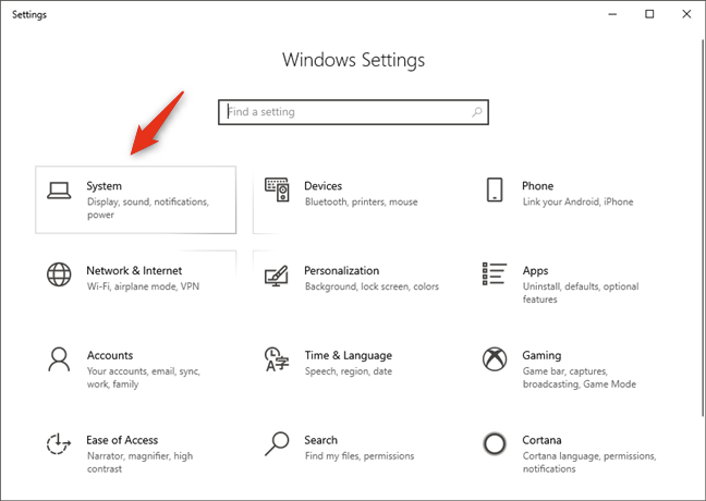 The System category of Windows 10 Settings
