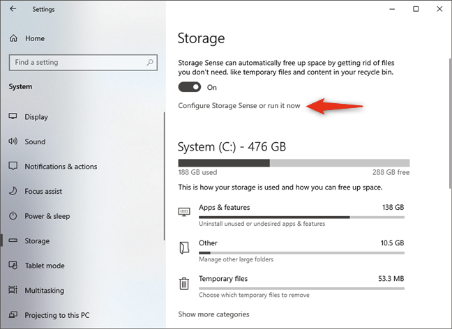 Configure Storage Sense or run it now