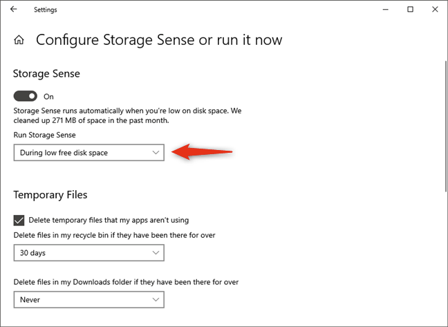 When to automatically run Storage Sense