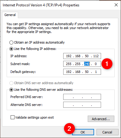 Changing the subnet mask of a network connection