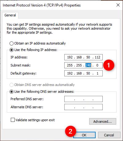 Cambiar la máscara de subred de una conexión de red