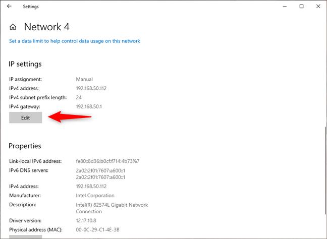 Editar la configuración de IP de una conexión de red