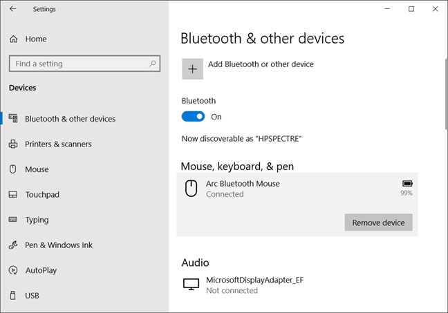 Bluetooth connections in Windows 10