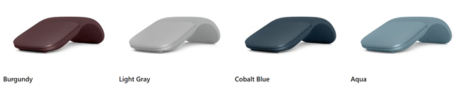 The colors of the Microsoft Surface Arc Mouse