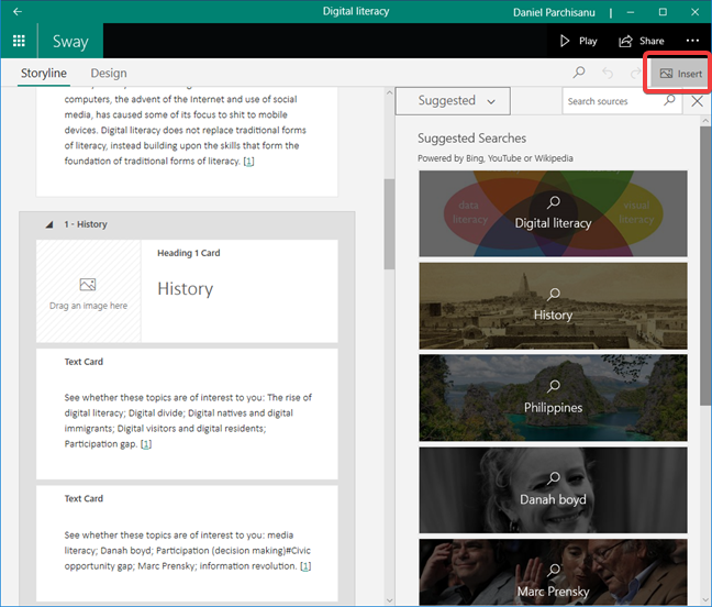 Insert content in Microsoft Sway