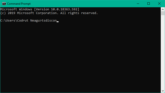 Using tsdiscon to switch users in Windows 10