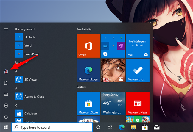 The user account button on the Start Menu
