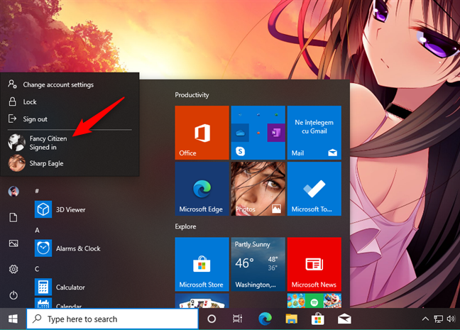 Switching users in Windows 10 from the Start Menu