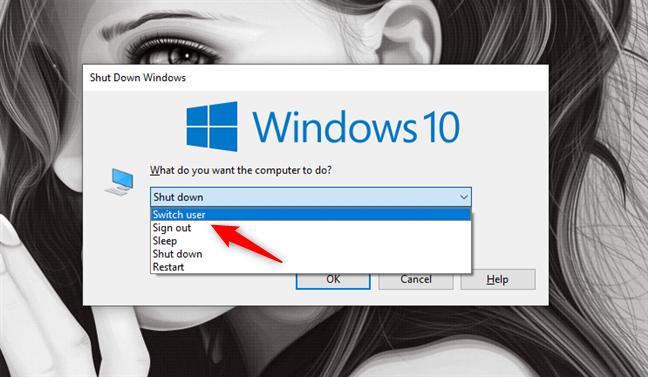 Switching user by pressing the Alt + F4 keyboard keys