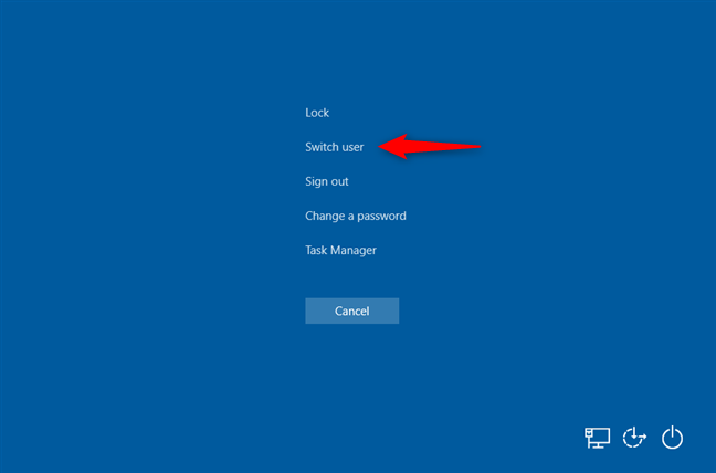 Switch user from Ctrl + Alt + Delete