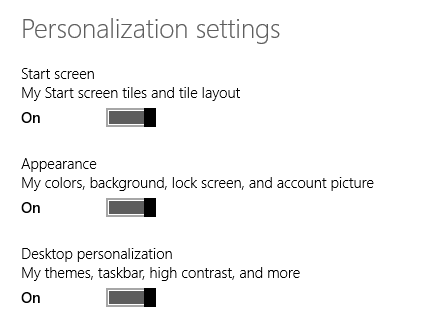 Windows 8.1, PC Settings, Sync, Settings, SkyDrive, Back up