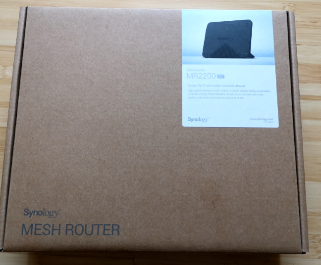 The packaging of the Synology MR2200ac