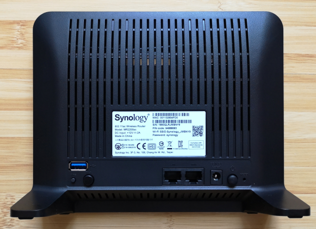 The ports on the back of the Synology MR2200ac