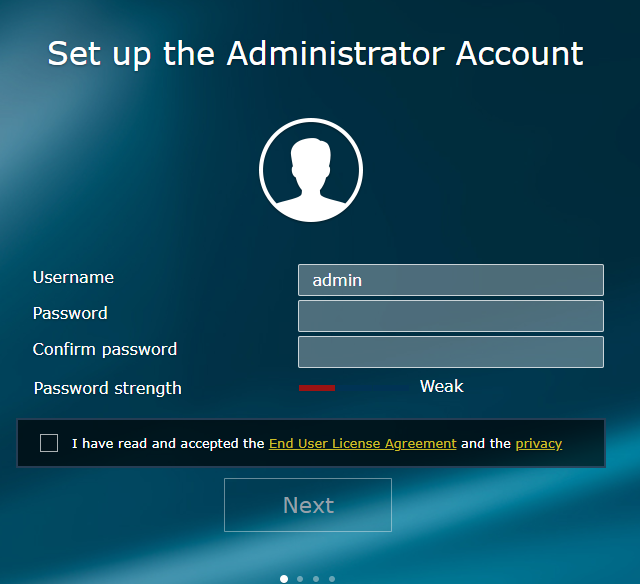 Set up the administrator account for Synology RT2600ac